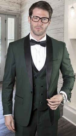 Statement Hunter Green Tailored Fit 3 Piece DB Vest Tuxedo MGM