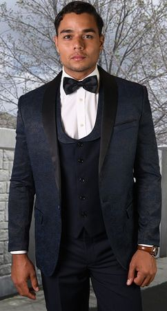 Statement Navy 3 Piece Fashion Tuxedo Tailored Fit Look-4