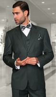 Statement Pure Wool Tailored Fit 3 Piece Suit Hunter STZV-100