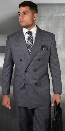 Mens Statement Fine Wool Charcoal Windowpane Double Breasted Suits TZD-401