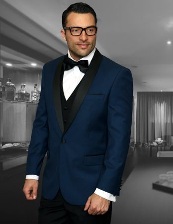 Statement Indigo Modern Fit 3 Piece Shawl Collar Tuxedo Encore