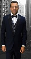 Statement Designer Style Modern Fit Navy Fancy Vest Tuxedo Look-6