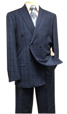 Statement Double Breasted Suit Men's Sapphire Wool Plaid SD-200 Size 40R, 54L
