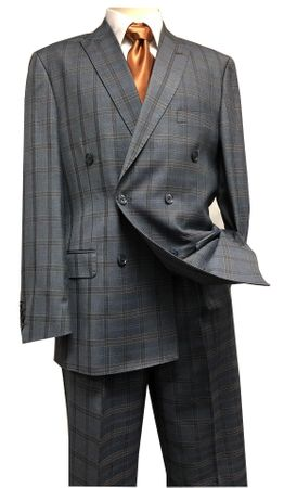 Statement Double Breasted Wool Suit Men's Charcoal Plaid SD-200 IS