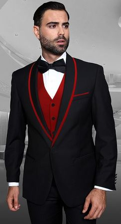 Men's Stylish Black and Red Modern Fit Fashion Tux Statement Genova-2