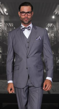 Statement Fine Wool Tailored Fit 3 Piece Suit Charcoal STZV-100