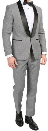 Ferrecci Mens Slim Fit Black White Houndstooth Prom Tuxedo Hilton