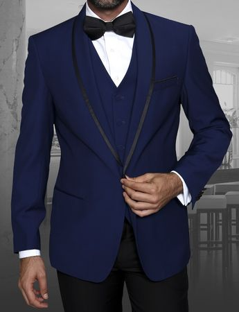 Statement Sapphire Blue Young Mens Modern Fit Wool Tuxedo Genova - click to enlarge