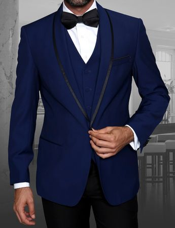 Statement Sapphire Blue Young Mens Modern Fit Wool Tuxedo Genova