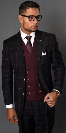 Statement Mens Wool Burgundy Square Pattern Double Breasted Vest Wide Leg 3 Pc. Suit Lucca Size 44L Final Sale - click to enlarge