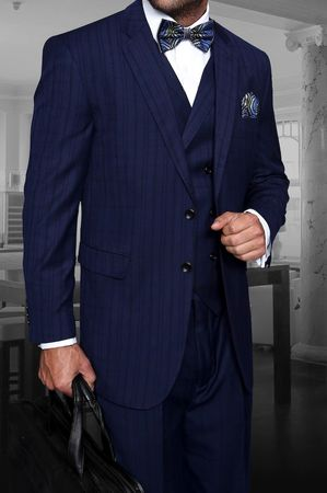 Statement Indigo Plaid 3 Pc. Suit Italian Wool Regular Fit TZ-945 IS
