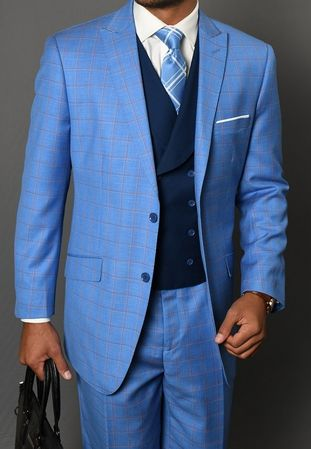 Statement Men's 3 Piece Wool Blue Suit Square Pattern Beverly IS