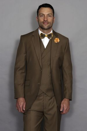 Statement Men's Bronze Wool 3 Piece Suit DB Vested Messina - click to enlarge