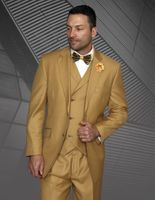 Statement Men's Camel Wool 3 Piece Suit DB Vested Messina