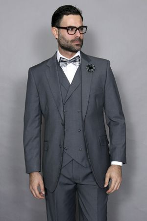 Statement Men's Charcoal Wool Suit with Double Breasted Vest Messina