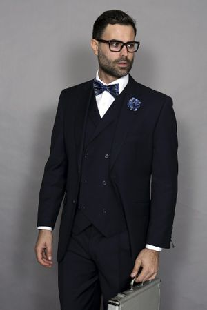 Statement Men's Navy Blue Wool 3 Piece Suit DB Vested Messina