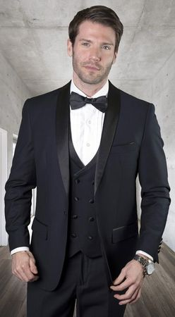 Statement Navy Tailored Fit 3 Piece DB Vest Tuxedo MGM