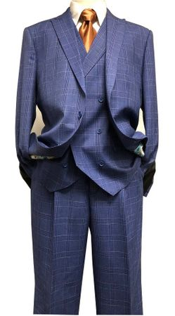 Statement Men's 3 Piece Wool Blue Windowpane Suit Canon IS