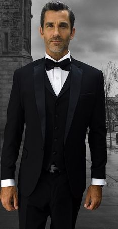 Statement Mens Black Designer Tuxedo Modern Fit Look-6