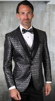 Statement Mens Black Tuxedo Tapestry Pattern Modern Fit Bellagio-21