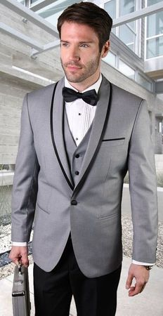 Statement Grey Young Mens Slim Fit Wool Tuxedo Genova