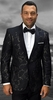 Statement Mens Black With Gold Tapestry Print Modern Fit Dinner Jacket SQ-101