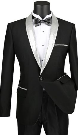 Mens Black Slim Fit Silver Sequin Collar Tuxedo Jacket Vinci NBSQ-3