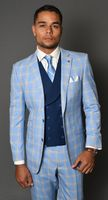 Statement Suit Men's Fitted Wool Blue Plaid Solid Vest 3 Piece Carlo