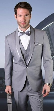Statement Mens 3 Piece Grey Modern Fit Tuxedo Caesar