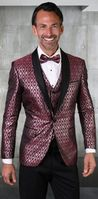 Statement Mens Burgundy Tuxedo Tapestry Pattern Modern Fit Bellagio-21