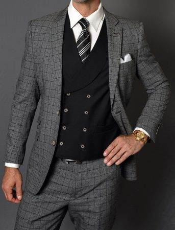 Statement 3 Piece Suit Men's Fitted Wool Charcoal Plaid Square Bottom Vest Sabino IS