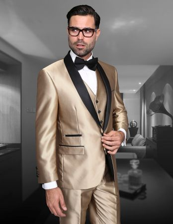 Statement Mens Champagne 3 Piece Modern Fit Designer Tuxedo Enzo-7