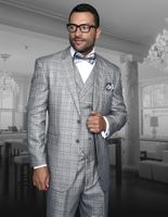 Statement Mens Grey Plaid 3 Piece Suit 100% Wool TZ-942 IS