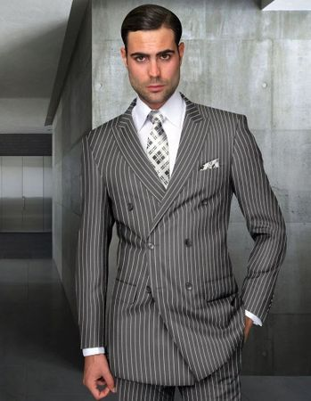 Statement All Wool Navy Stripe Double Breasted Suit Gray Stripe DB-Zarelli