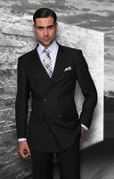 Statement Mens Double Breasted Solid Black  Wool Suits TZD-100