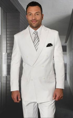 Statement Mens Double Breasted White Wool Suits TZD-100