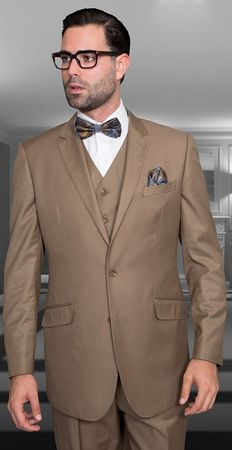 Statement Mens 100% Wool Modern Fit Bronze 3 Piece Suit STZV-100