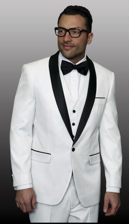 Statement Mens Entertainer Style White Shiny Tuxedo Modern Fit Enzo-7