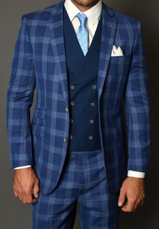 Statement Wool Suit Men's Sapphire Blue Plaid Fitted 3 Piece Contrast Vest Como IS