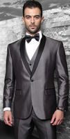 Statement Mens Fashion Shiny Grey 3 Piece Slim Fit Tuxedo Wynn