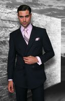 Statement Mens Fine Wool Navy Pinstripe  Double Breasted Suits TZD-300