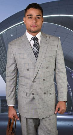 Mens Statement Fine Wool Grey Windowpane Double Breasted Suits TZD-401