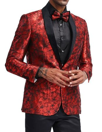 Men's Red Flower Prom Jacket Matching Bow Tie Tazio MJ336-2