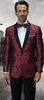 Statement Mens Floral Print Burgundy Modern Fit Tuxedo Jacket SQ-101