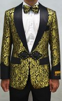 Mens Gold Floral Swirl Tuxedo Jacket Alberto Smoking-2