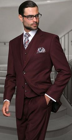 Statement Pure Wool Tailored Fit 3 Piece Suit Burgundy STZV-100