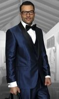 Statement Mens Indigo Blue Shiny Tuxedo Modern Fit Red Carpet Style Side Vents Enzo-7
