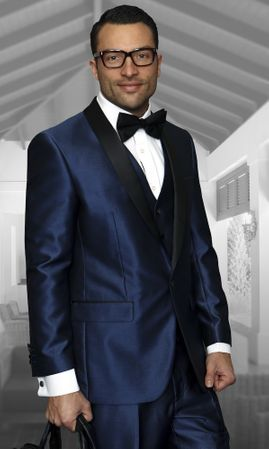 Statement Mens Indigo Modern Fit Tuxedo Suit Enzo-7 - click to enlarge