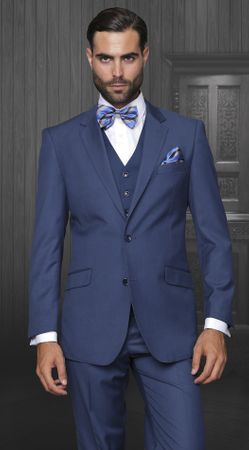 Statement Mens Indigo Blue 3 Piece Suit 100% Wool STZV-100 - click to enlarge