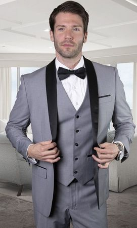 Statement Mens 3 Piece Grey Shawl Collar Modern Fit Tuxedo TUX-SH
